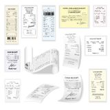 Commercial cheques vector flat set isolated on white Royalty Free Stock Photography