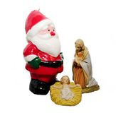 Commercial Christmas. Commercialism vs Christmas, the Virgin Mary, Jesus, and Santa Claus Royalty Free Stock Image