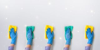 Commercial cleaning company. Employee hands in blue rubber protective glove. General or regular cleanup. Employee hands in blue rubber protective glove wiping royalty free stock photography