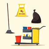 Commercial cleaning equipment with cart. Cartoon vector illustration Stock Photography