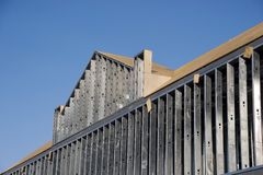 Commercial construction. Metal studs roofline Stock Photography