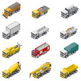 Commercial, construction, and service trucks isometric icon set Stock Image