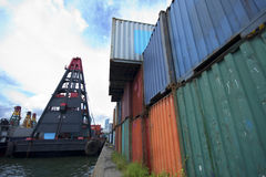 Commercial container port Stock Images