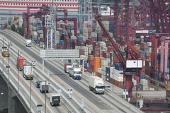 Commercial container port. In Hong Kong Stock Photos