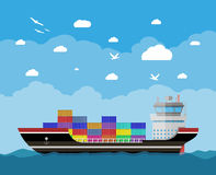 Commercial container ship Stock Photos