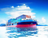 Commercial container ship in naval transportation use for busine Royalty Free Stock Photos