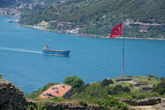 Commercial container ship in turkey Stock Images
