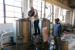 Commercial Craft Beer Making at Brewery Stock Photo