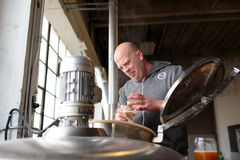 Commercial Craft Beer Making at Brewery Royalty Free Stock Images