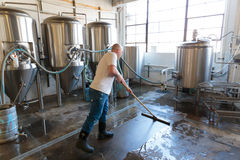Commercial Craft Beer Making at Brewery Stock Images