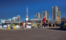 Commercial and cultural center in New Westminster. Residental district, Promenade  quay, hotel and Shopping plaza on the  riverfront of Fraser River  in New Stock Images
