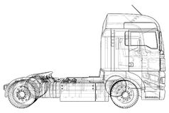 Commercial Delivery Cargo Truck vector for brand identity and advertising isolated. Created illustration of 3d. Wire vector illustration