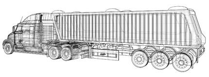 Commercial Delivery Cargo Truck vector for brand identity and advertising isolated. Created illustration of 3d. Wire royalty free illustration