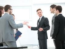 Commercial Director and business team discussing a new business Stock Photo