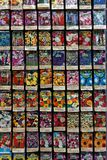 A commercial Display of Flower Seed Packets. A commercial display of flower seeds in packets arranged in rows Royalty Free Stock Images