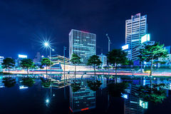 Commercial district and historical building in Seoul Royalty Free Stock Photography