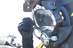 Commercial diver. With a helmet ready to dive in the oil and gas industry Royalty Free Stock Photography