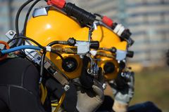 Commercial diver. With a helmet ready to dive in the oil and gas industry Stock Image