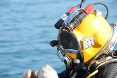 Commercial diver. With a helmet ready to dive in the oil and gas industry Royalty Free Stock Photo