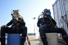 Commercial diver Stock Photo