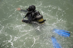 Commercial diver training in the sea Stock Photography