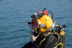 Commercial diving preparation. Commercial diving equipment, ready for the dive Royalty Free Stock Image