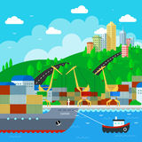 Commercial Dock in flat style design. Vector Illustration Stock Image