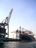 Commercial dock with industrial ship Royalty Free Stock Images