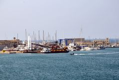 Port of Brindisi in southern Italy. Commercial dock of the Port of Brindisi. Puglia region, southern Italy. The port of Brindisi has always been considered as stock image