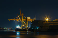 Commercial docks at  night Stock Photo