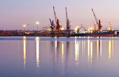 Commercial docks at sunset Royalty Free Stock Image