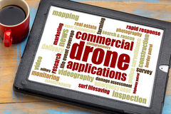 Commercial drone applications. Word cloud on a digital tablet with a cup of coffee royalty free stock photography