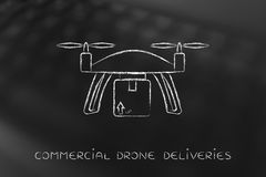 Commercial drone delivery of online order parcel Royalty Free Stock Photography