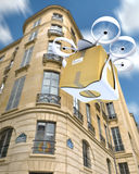 Commercial drone flying around Paris Royalty Free Stock Images