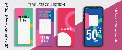 Commercial Editable Instagram Stories template.Template for social media network. Sale. Streaming. vector illustration