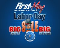 Commercial event, First May, International Labor day. Holidays, design background with 3d texts, hammer and wrench on gear for International Labor day, sales Stock Image