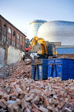 Commercial expansion. The demolition of old bricked building to make a space for commercial development. Commercial expansion in Birmingham, UK Royalty Free Stock Photography