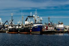 Commercial fishing boat docked at Fisherman`s Terminal in Seattle Washington. Bright blue sky royalty free stock photography