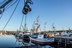 Commercial fishing boat docked at Fisherman`s Terminal in Seattle Washington Stock Photography