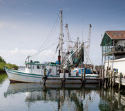 Commercial Fishing boat in marina. A commercial fishing boat docked in a marina Stock Photos