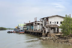 A commercial fishing boat. In old dock, at Andaman sea, Ranong Thailang Royalty Free Stock Images