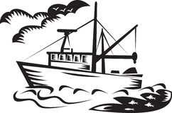 Commercial fishing boat ship sea woodcut Stock Image