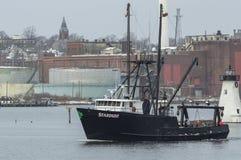 Commercial fishing boat Stardust on Acushnet River. New Bedford, Massachusetts, USA - February 1, 2018: Commercial fishing vessel Stardust passing Palmer`s Stock Photo