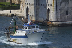 Commercial fishing boat in Taranto, Puglia, Italy. Royalty Free Stock Photography