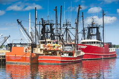 Commercial fishing boats. In New Bedford harbor, Massachusetts, USA Royalty Free Stock Photos