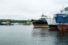 Commercial fishing boats and Ballard Bridge Royalty Free Stock Photography
