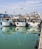 Commercial fishing boats in harbor Royalty Free Stock Photography