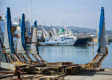 Commercial fishing boats in harbour. Italy Royalty Free Stock Photos