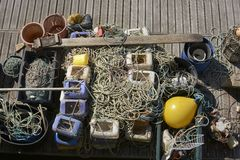 Commercial fishing equipment. Brighton Marina. England Stock Image