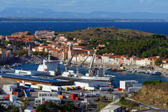 Commercial and fishing harbor in Mediterranean sea Royalty Free Stock Photo